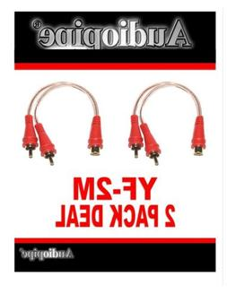 2 Pack 1 Male RCA - 2 Female Y-Adapter Stereo Patch Cables C