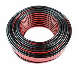 12 AWG GAUGE ZIP SPEAKER WIRE 100 FT RED BLACK STRANDED COPP