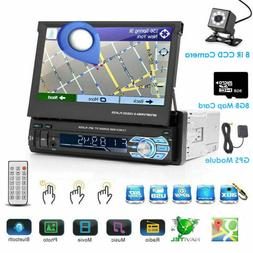 """1DIN Flip-Out GPS 7"""" Car Stereo MP5 Player USB Bluetooth Rad"""