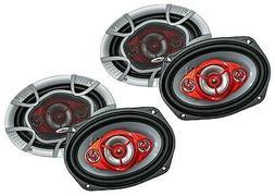 "2) Audiobank 6x9"" 700 Watt 3-Way Red Car Audio Stereo Coaxia"
