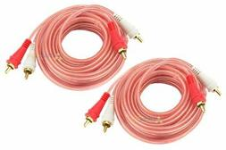 2 RCA 12 Ft Cable Audiopipe Stereo Interconnect Car Audio Ho