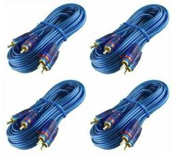 4 20' Absolute Blue RCA Interconnect Audio Cable Gold Plated