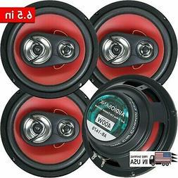 "4) Audiobank 6.5"" 400 Watt 3-Way Red Car Audio Stereo Coaxia"