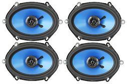 """4) Q POWER 5x7"""" 300 Watt 2-Way Blue Car Audio Stereo Coaxial"""