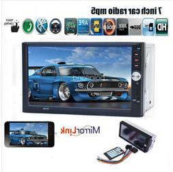 7'' 2 DIN BT Car Stereo Radio USB TF AUX Remote EQ Touch Scr