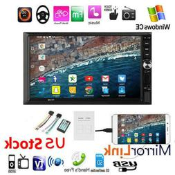 "7""Double DIN Car Stereo Radio MP5 Player Touch Screen BT Hea"