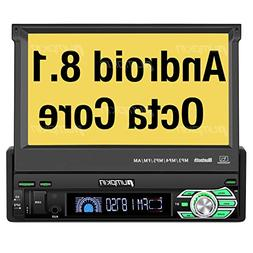 PUMPKIN Android 8.1 Car Stereo Single Din with 7 Inch Flip O