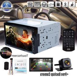 Backup Camera& 7 inch Double 2 Din Car Stereo Radio CD DVD P
