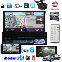 Camera + 1 Din Car Stereo Radio Touch Screen Flip out Blueto