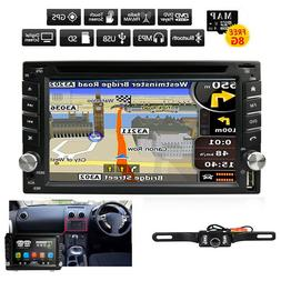 Car GPS 2Din Stereo Radio CD DVD Player Bluetooth with Map +