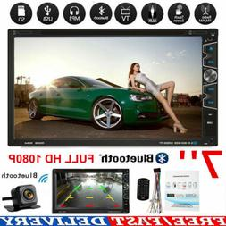"""Double 2 Din 7"""" Car Stereo DVD CD MP3 Player HD In-Dash Blue"""