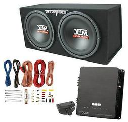"MTX 12"" 1200W Dual Loaded Car Audio Subwoofers with Box Encl"
