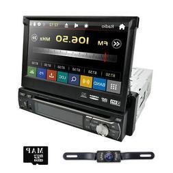"HD Single 1DIN Flip-Out 7"" Car Stereo DVD Player GPS/USB/BT"