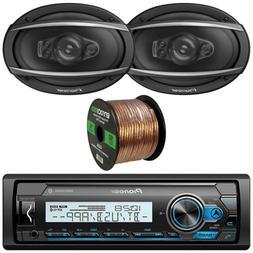 """Pioneer Marine Bike Bluetooth Receiver, Pair of 6x9"""" Speaker"""