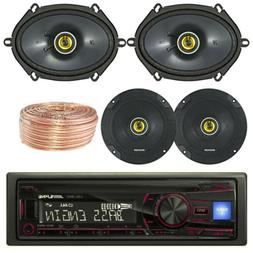 """Alpine Car CD Player USB Receiver, Kicker Coaxial 6.5"""" and 6"""