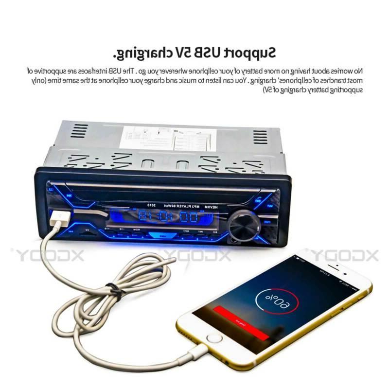 1 Car Radio MP3 Player Bluetooth FM Remote Head