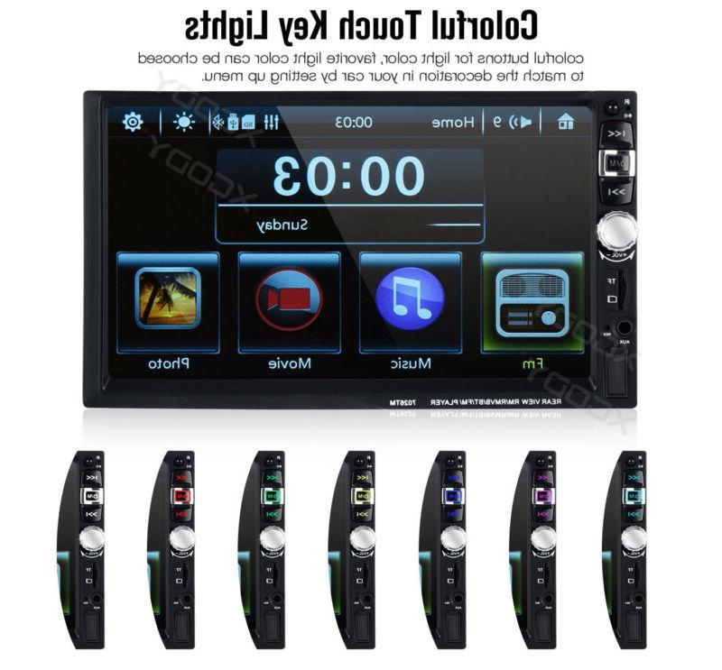 "2 7"" Car Stereo Player Bluetooth Mirror Camera US"
