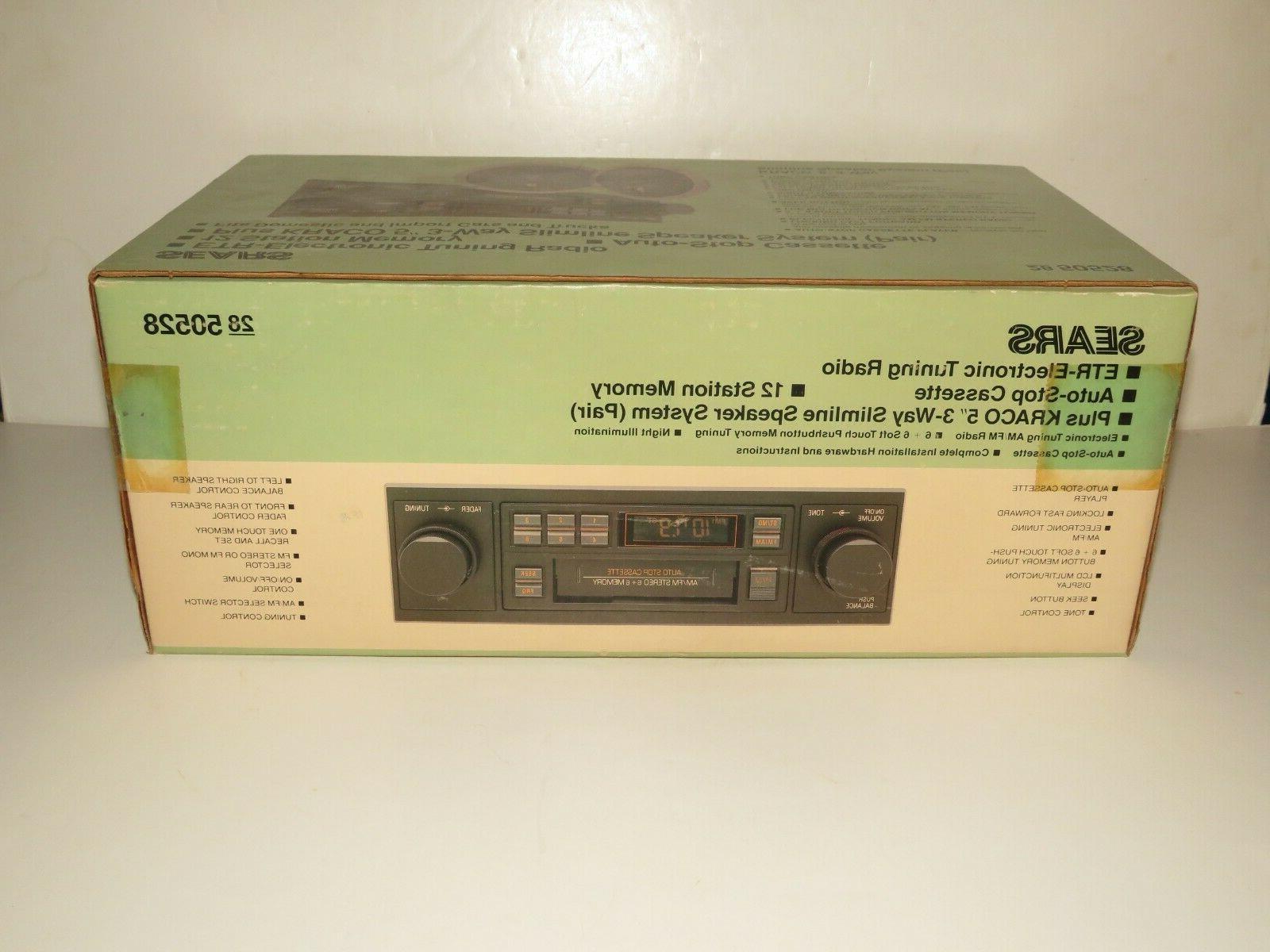 SEARS Cassette Car Stereo Kraco Speakers Box