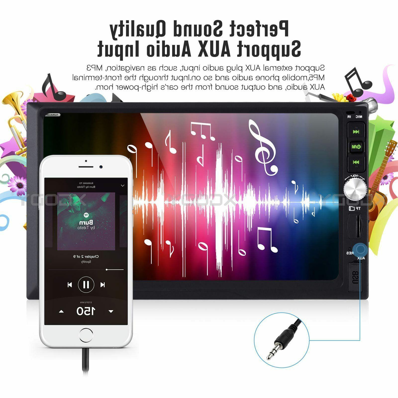 "7"" MP5 Player Bluetooth Mirror Link USB FM 2 DIN US"