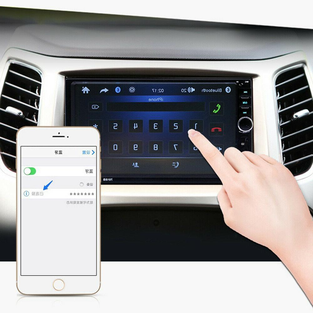 "7"" 2 Car Stereo Radio Bluetooth Screen AUX Camera"