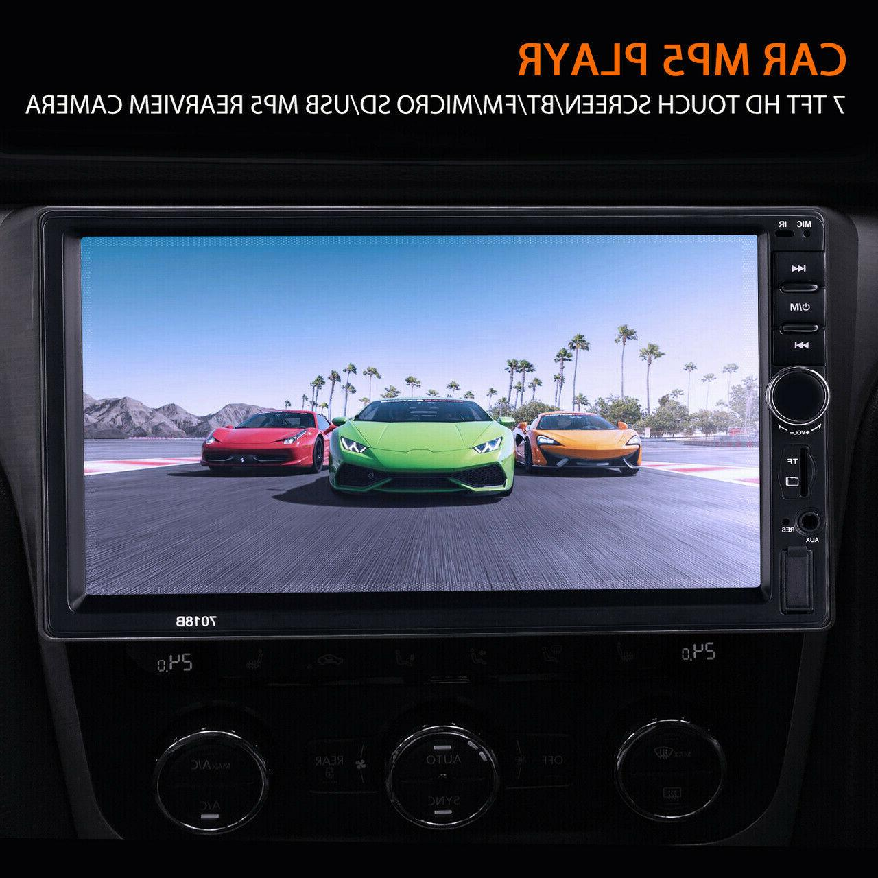 """7"""" Double MP5 Player Bluetooth Screen Stereo Radio USB AUX Camera"""