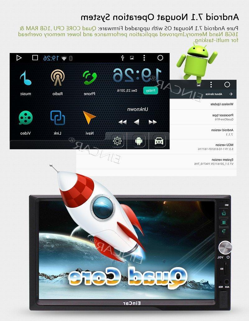 7'' <font><b>Eincar</b></font> Radio Head Support GPS Navigation Bluetooth 4G OBD2 FM/AM RDS