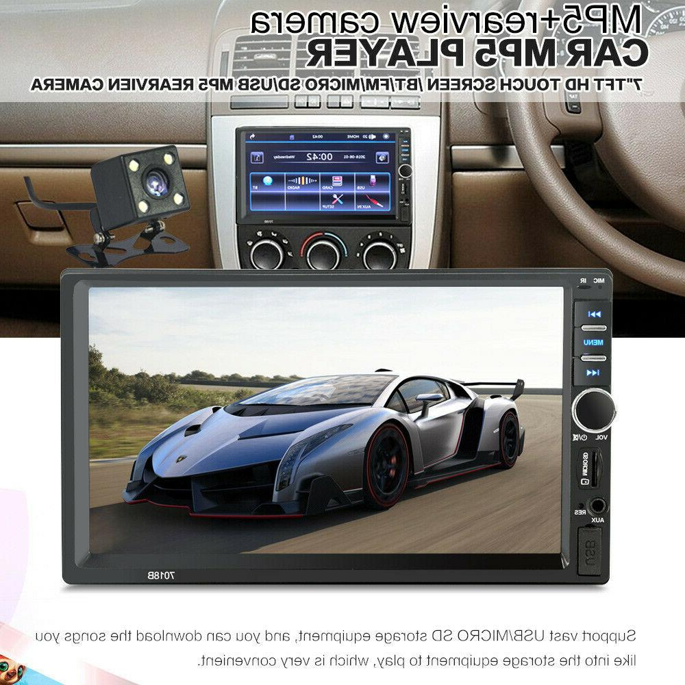 "7"" DIN Car Player Bluetooth Screen Radio + Camera"