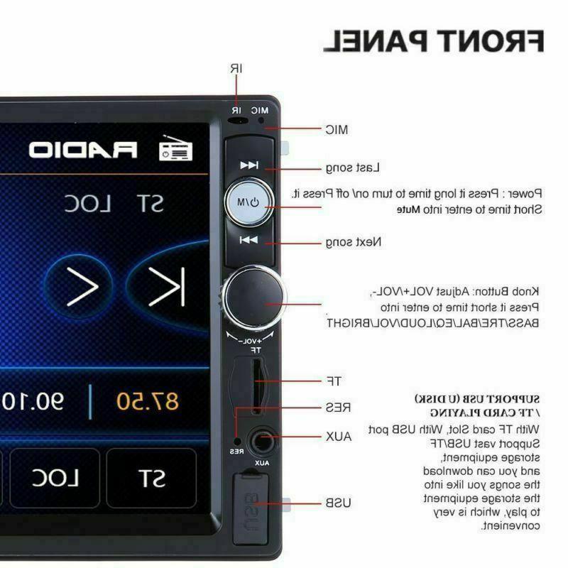 7inch HD 2Din Screen Car Stereo Player Radio USB + Camera