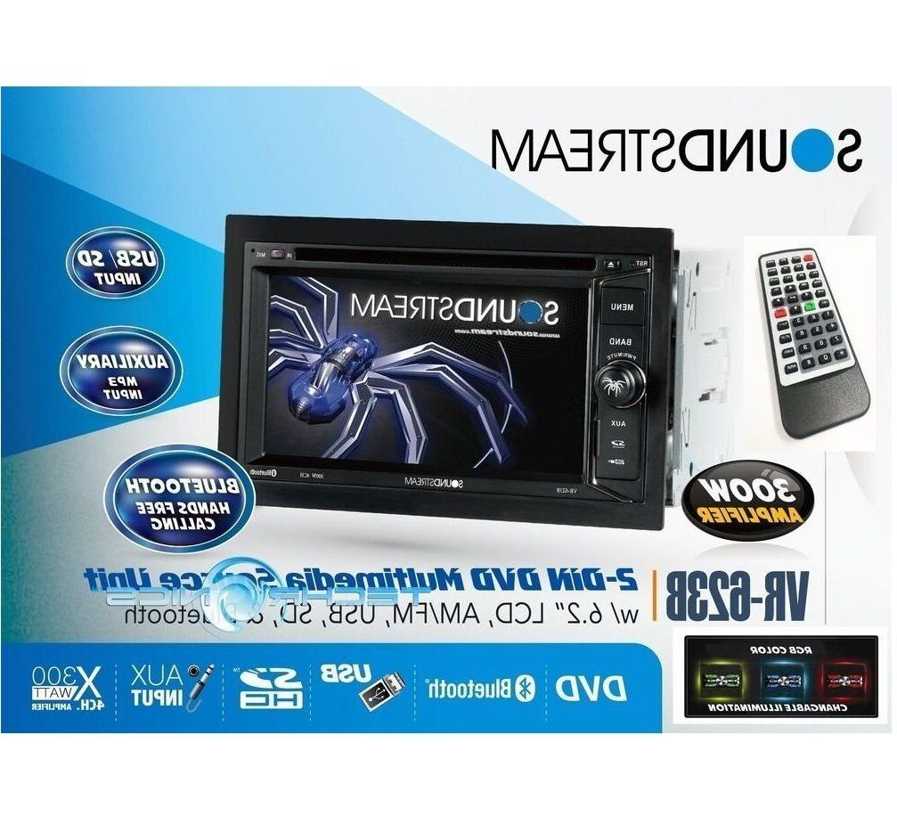 "SOUNDSTREAM VR-623B 6.2"" BLUETOOTH CD DVD MP3 USB TOUCHSCREE"