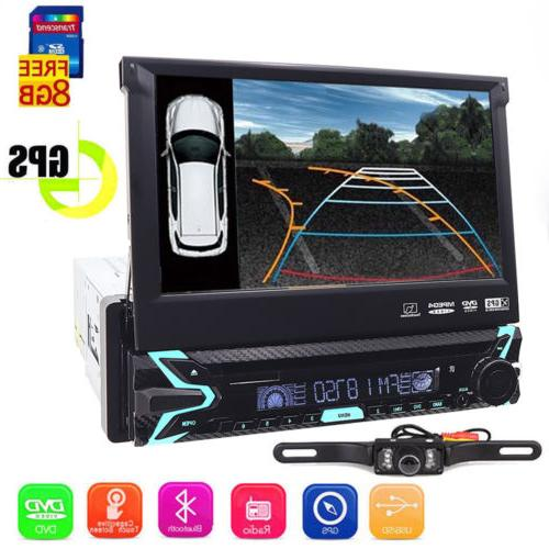 "Single 1DIN Flip-Out 7"" Car Stereo DVD VCD Player GPS/USB/Bl"