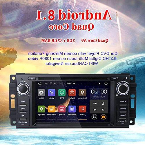 MCWAUTO Android 8.1 Stereo Compatible Dodge Ram Jeep Unit 2G Radio Receiver with Bluetooth/3G/Rear Camera