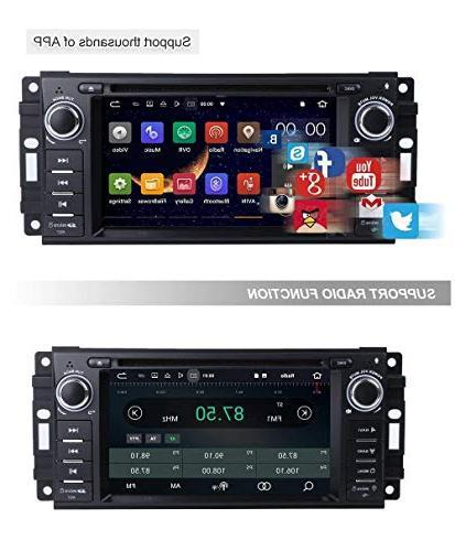 "MCWAUTO Android 8.1 Stereo GPS Compatible Dodge Ram Jeep Wrangler Unit 6.2"" 2G ROM Indash Radio Navigation Bluetooth/3G/Rear Camera"