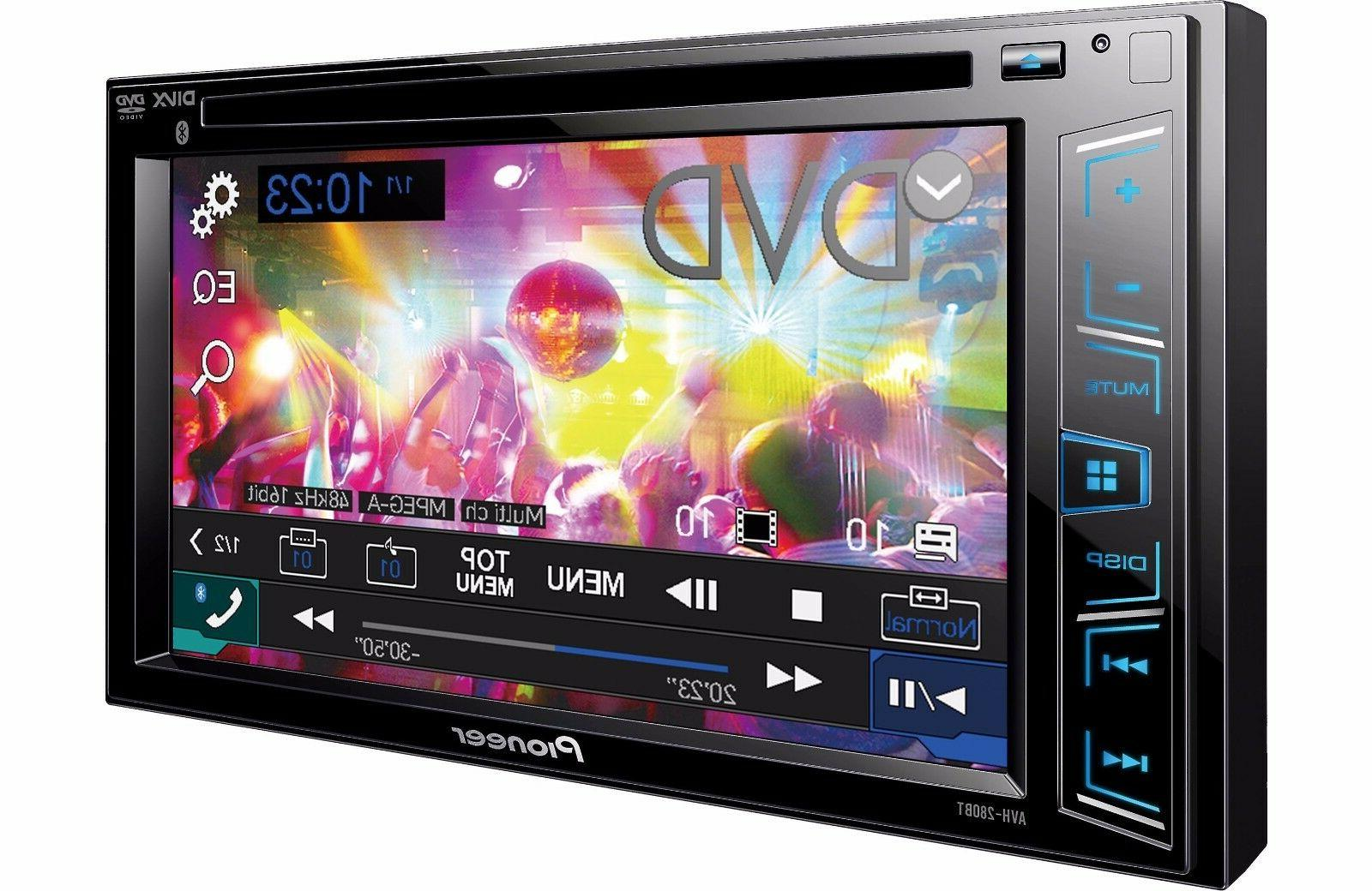 Pioneer AVH-280BT DVD Player 6.2 Touchscreen LED-LCD - 16:9 - 88 Double DIN 4 Channels - - DVD Video, MPEG-2, MPEG-4, AVI, WMV, VCD, MPEG, DivX 3, DivX . - WMA, AAC, WAV, WMA8,