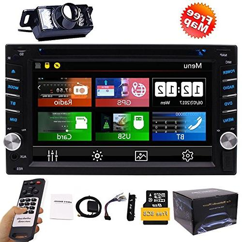 FREE Backup Camera + NEW Din Stereo DVD Bluetooth 2 Din Capacitive Touch support SD 1080P SWC Car Control
