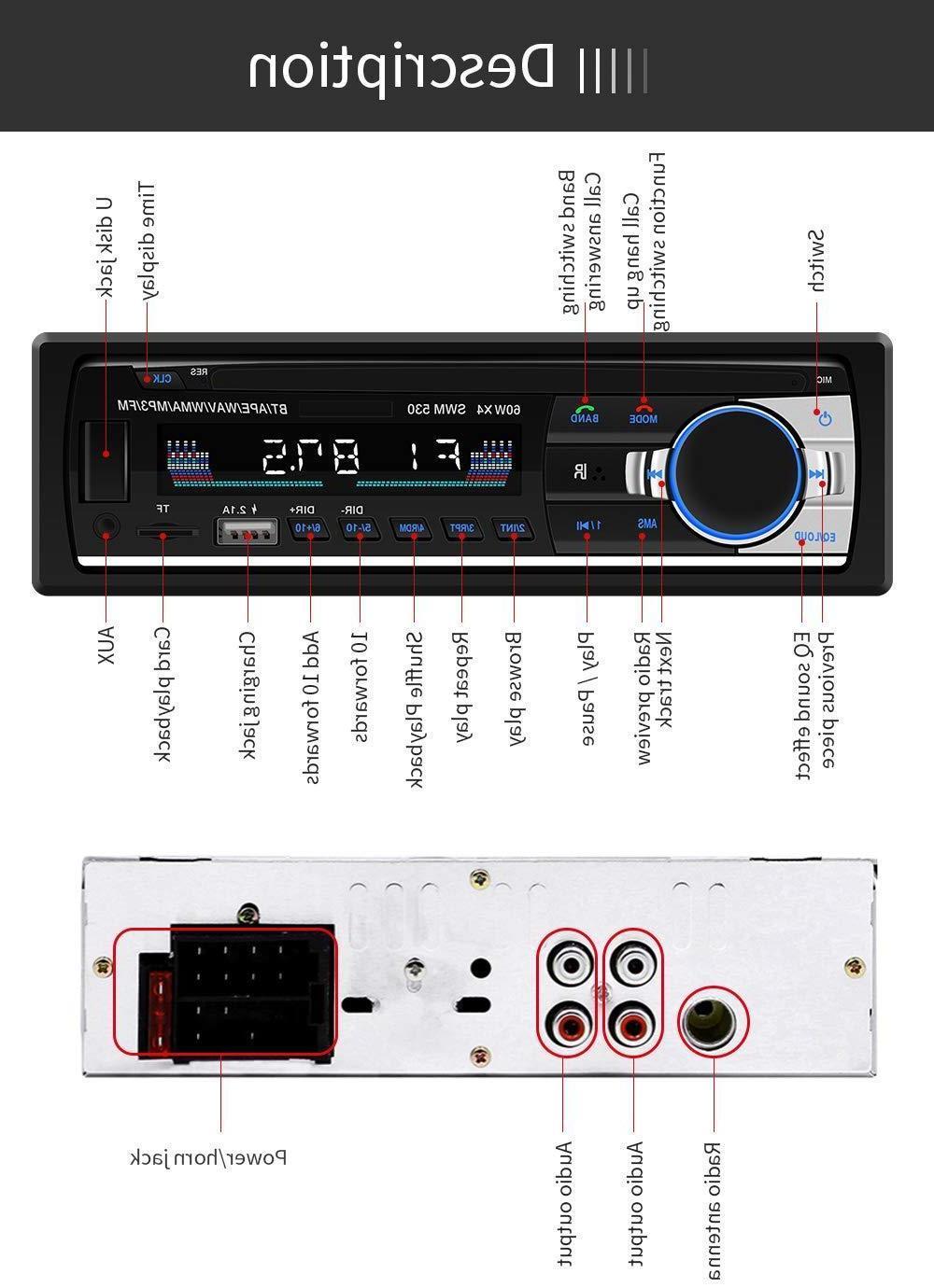 Bluetooth Audio In-Dash Receiver Radio Player