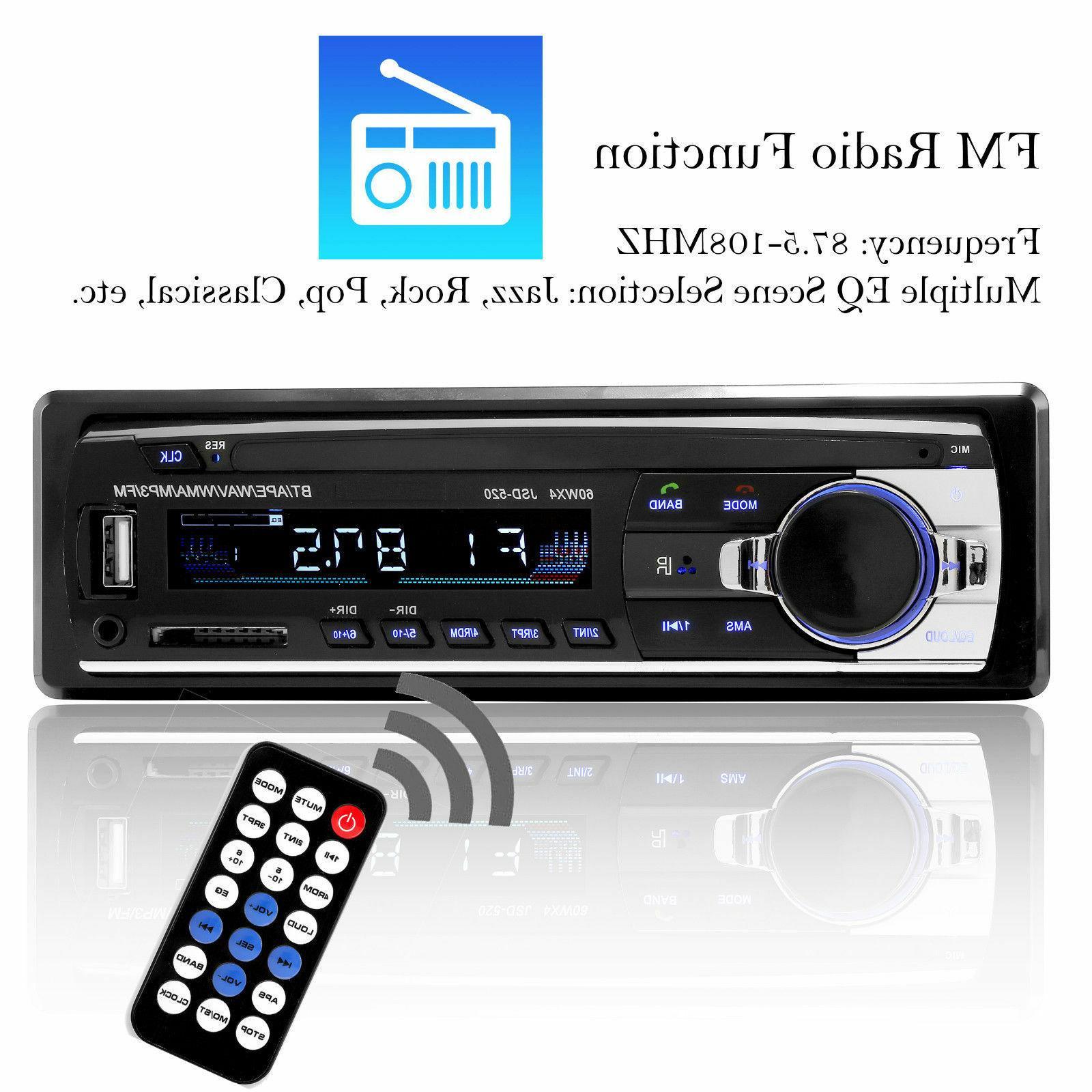 Bluetooth Car Stereo In-Dash FM Receiver USB MP3 Radio
