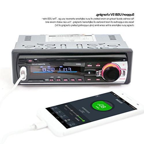 Ruhiku Audio Stereo Player, Bluetooth FM AUX Receiver 1 DIN USB Radio