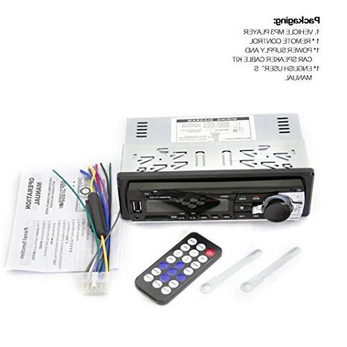 Ruhiku Stereo Player, Bluetooth In-Dash FM Receiver 1 DIN USB Radio