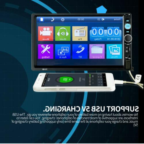 Car Double 2DIN Bluetooth Touch Screen Stereo AUX
