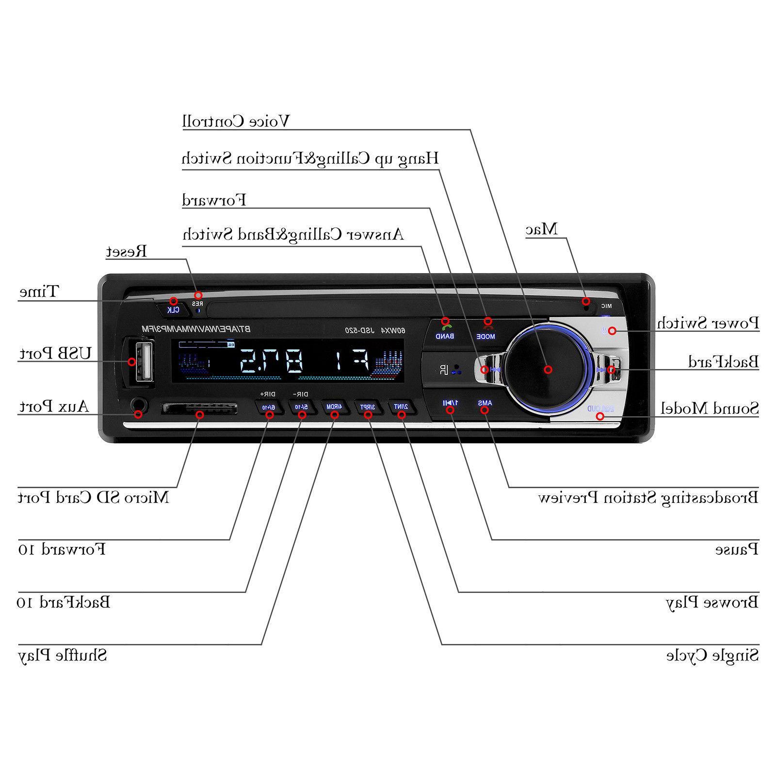 Car In-Dash FM Aux Receiver SD USB Radio