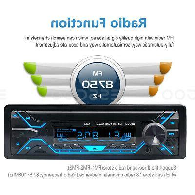 Car Stereo MP3 Bluetooth USB TF FM In-dash Handsfree MIc.