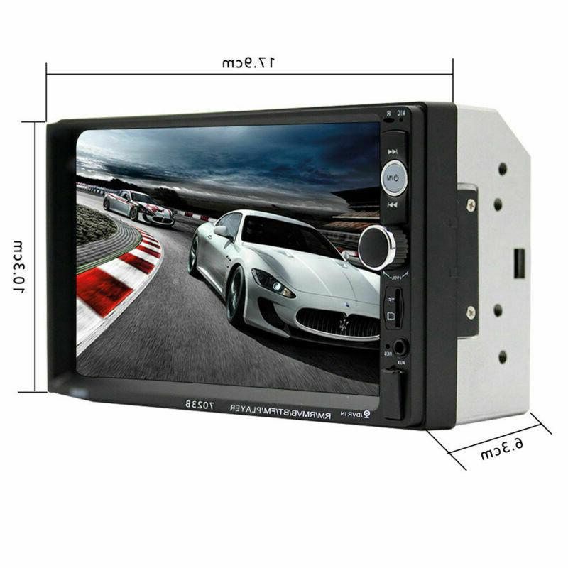 "Car Stereo Radio Bluetooth Audio Receiver Double Din 7"" Touch USB AUX TF"