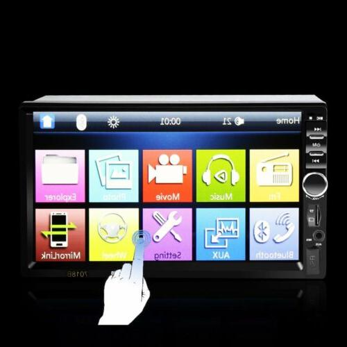 "Car Stereo Bluetooth Audio Receiver Double Din 7"" Touch USB AUX"