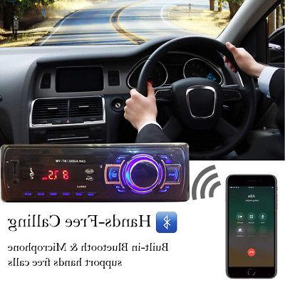 Car Stereo Radio Bluetooth AUX IN Player 1 DIN In-Dash