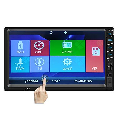 Double Din Car 7 Touch Screen Car Player,Supports Bluetooth/AM/FM/Rear with Remote by