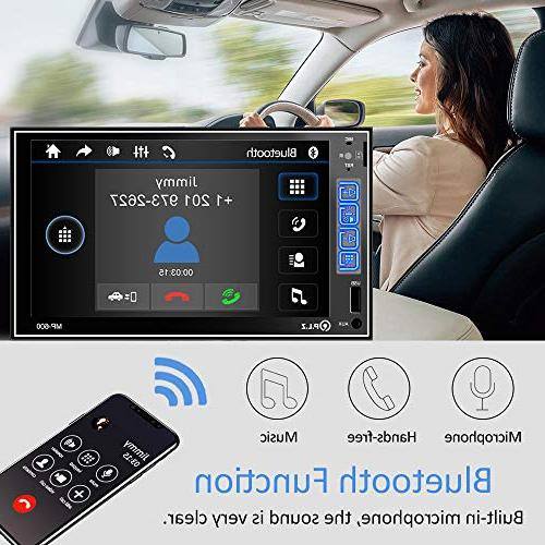 PLZ Stereo In-dash Car Stereo Bluetooth, 7'' Capacitive Touchscreen Digital Monitor, Player/FM/Am/TF/USB/Aux-in, Remote Camera Included