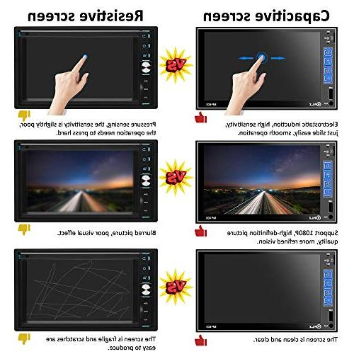 PLZ Double Din Stereo In-dash Digital Car Bluetooth, 7'' Touchscreen Digital Monitor, Player/FM/Am/TF/USB/Aux-in, Remote Camera Included