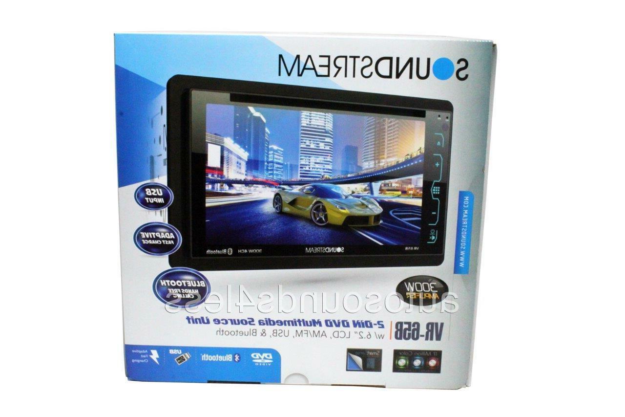 "Soundstream Double Din VR-65B DVD/CD/MP3 Player 6.2"" LCD Blu"