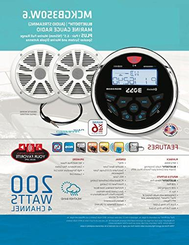 BOSS MCKGB350W.6 Receiver/Speaker Package, Bluetooth, MP3/USB Marine Stereo, 6.5 Inch Speakers,