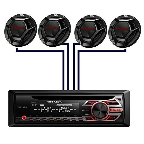 Pioneer DEH-150MP Audio CD MP3 Radio Player, Aux with JVC 2-Way Car High Output Sound Factory Package